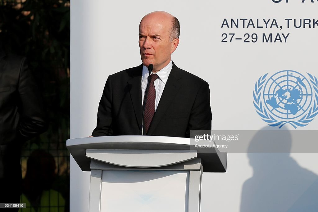 Turkey's Deputy Foreing Minister Naci Koru attends the ceremony for the raising of the United Nations flag at the Titanic Hotel where Midterm Review of the Istanbul Programme of Action, in Antalya, Turkey on May 25, 2016. The Midterm Review conference for the Istanbul Programme of Action for the Least Developed Countries will take place in Turkey's Antalya from 27-29 May 2016.