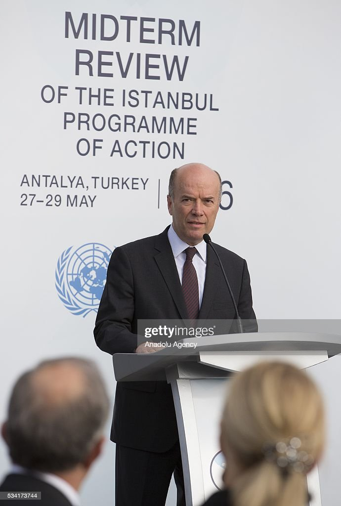 Turkey's Deputy Foreing Minister Naci Koru attends the flag raising ceremony for the flags of the United Nations and Turkey at the Titanic Hotel where Midterm Review of the Istanbul Programme of Action, in Antalya, Turkey on May 25, 2016. The Midterm Review conference for the Istanbul Programme of Action for the Least Developed Countries will take place in Turkey's Antalya from 27-29 May 2016.