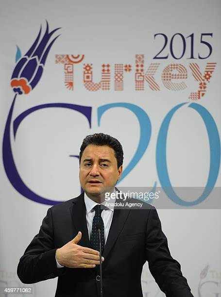 Turkey's Deputy Prime Minister Ali Babacan gives a speech during a press release marks official start of Turkeys Presidency of G20 at Prime Ministry...
