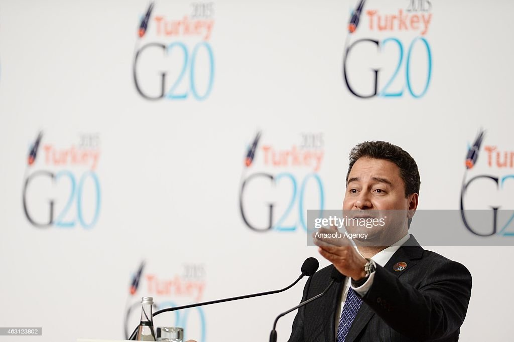 Turkey's Deputy Prime Minister <a gi-track='captionPersonalityLinkClicked' href=/galleries/search?phrase=Ali+Babacan&family=editorial&specificpeople=612964 ng-click='$event.stopPropagation()'>Ali Babacan</a> gives a speech during a press conference within the G20 Finance Ministers and Central Bank Governors Meeting in Istanbul, Turkey on February 10, 2015.