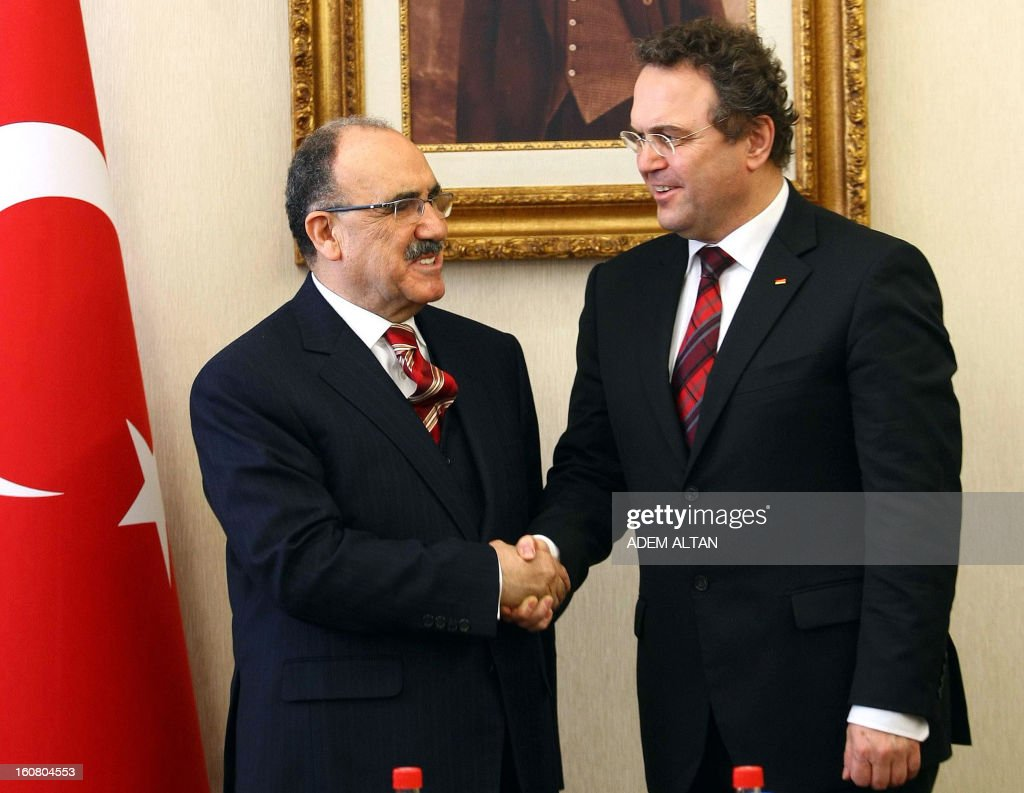 Turkey's Deputy Prime Minister Besir Atalay (L) shakes hands on February 6, 2013 with German Interior Minister Hans-Peter Friedrich prior to their meeting at the Prime Minister's office in Ankara.
