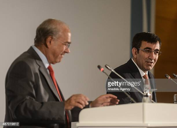 Turkey's Deputy Prime Minister Cevdet Yilmaz delivers a speech during a press conference held to introduce G20/OECD Principles of Corporate...