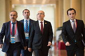 Turkey's Deputy Prime Minister Mehmet Simsek arrives to attend the G20 Highlevel Tax Symposium part of the G20 finance ministers meeting in Chengdu...