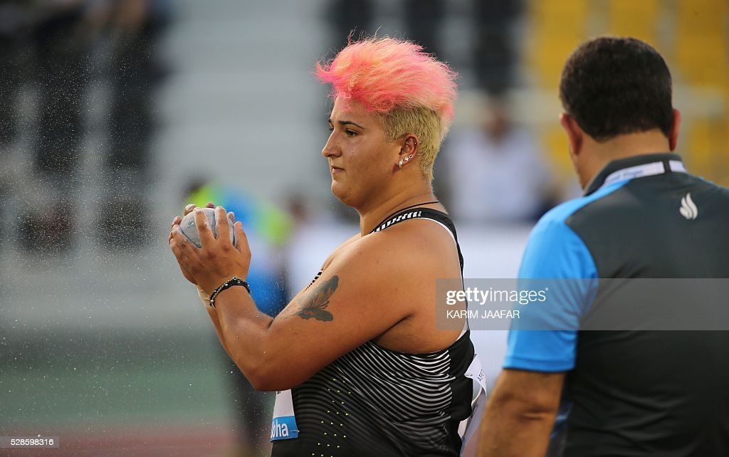Turkey's Emel Dereli prepares to throw in the Shot Put at the Diamond League athletics competition at the Suhaim bin Hamad Stadium in Doha, on May 6, 2016. / AFP / KARIM