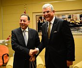 Turkey's EU Minister and Chief Negotiator Volkan Bozkir and Gianni Pitella Chairman of the Group of the Progressive Alliance of Socialists and...