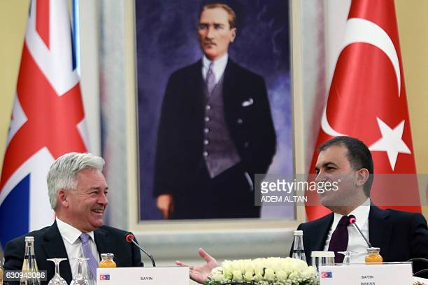 Turkey's EU Minister Omer Celik and British Minister of State for Europe and the Americas Alan Duncan give a press conference following their meeting...