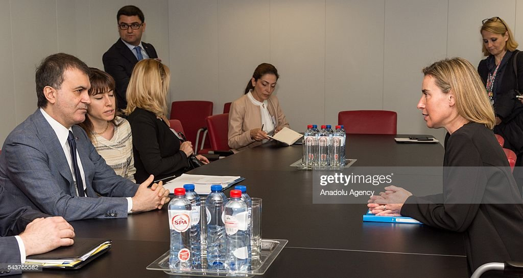 Turkey's EU Minister Omer Celik (L) meets with High Representative of the European Union for Foreign Affairs and Security Policy Federica Mogherini (R) in Brussels, Belgium on June 30, 2016.