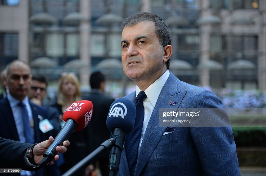 Turkey's EU Minister Omer Celik speaks to media ahead of the Chapter 33 on financial and budgetary provisions as part of the EU-Turkey Intergovernmental Accession Conference in Brussels, Belgium on June 30, 2016.