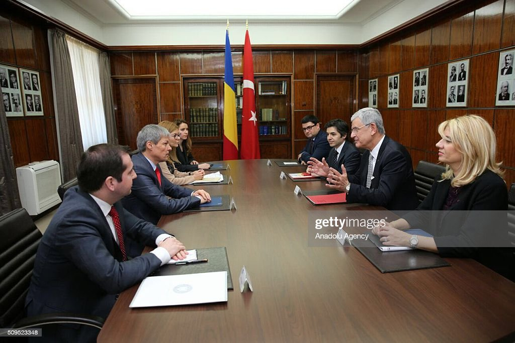Turkey's EU Minister Volkan Bozkir (2nd R) and Romanian Prime Minister Dacian Ciolos (2nd L) hold a joint inter-delegations meeting in Bucharest, Romania on February 11, 2016.