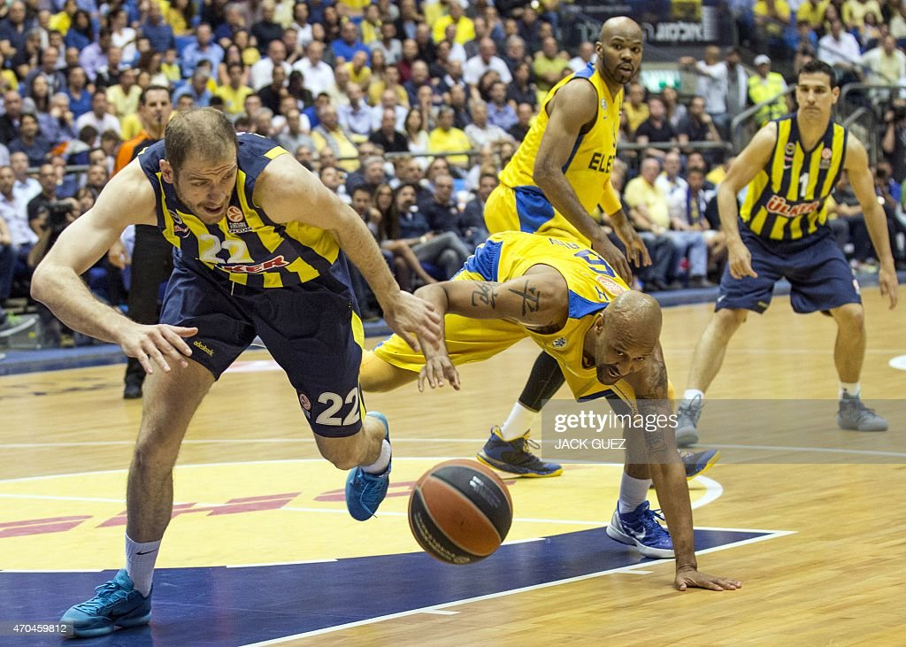 Turkey's Fenerbahce Ulker Istanbul's Croatian center Luka Zoric (L) vies for the ball against Israel's Maccabi Electra Tel Aviv's US guard <a gi-track='captionPersonalityLinkClicked' href=/galleries/search?phrase=Devin+Smith+-+Basketball+Player&family=editorial&specificpeople=13926073 ng-click='$event.stopPropagation()'>Devin Smith</a> (R) during their Euroleague Playoff basketball match, round 3, between Fenerbahce Ulker Istanbul and Maccabi Electra Tel Aviv, on April 20, 2015 at the Menora Mivtachim Arena stadium in the Israeli Mediterranean coastal city of Tel Aviv.