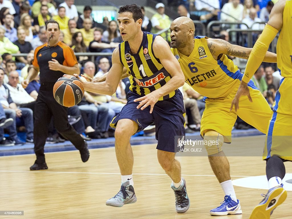 Turkey's Fenerbahce Ulker Istanbul's Greek guard Nikos Zisis (L) vies for the ball against Israel's Maccabi Electra Tel Aviv's US guard <a gi-track='captionPersonalityLinkClicked' href=/galleries/search?phrase=Devin+Smith+-+Basketball+Player&family=editorial&specificpeople=13926073 ng-click='$event.stopPropagation()'>Devin Smith</a> (M) during their Euroleague Playoff basketball match, round 3, between Fenerbahce Ulker Istanbul and Maccabi Electra Tel Aviv, on April 20, 2015 at the Menora Mivtachim Arena stadium in the Israeli Mediterranean coastal city of Tel Aviv.