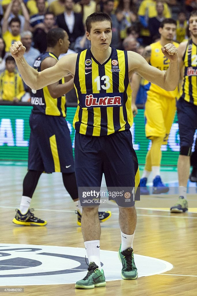 Turkey's Fenerbahce Ulker Istanbul's Serbian guard Bogdan Bogdanovic reacts after his team won they their Euroleague Playoff basketball match, round 3, between against Maccabi Electra Tel Aviv, on April 20, 2015 at the Menora Mivtachim Arena stadium in the Israeli Mediterranean coastal city of Tel Aviv.