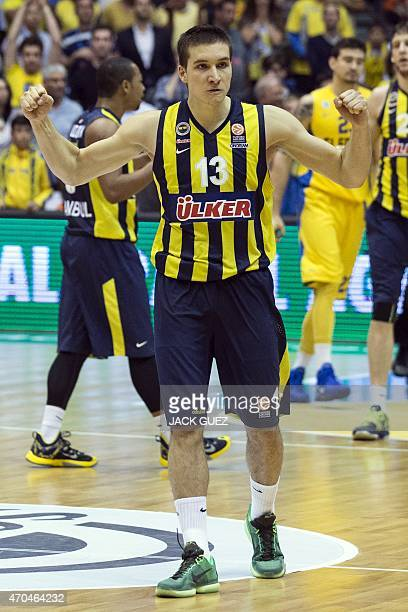 Turkey's Fenerbahce Ulker Istanbul's Serbian guard Bogdan Bogdanovic reacts after his team won they their Euroleague Playoff basketball match round 3...