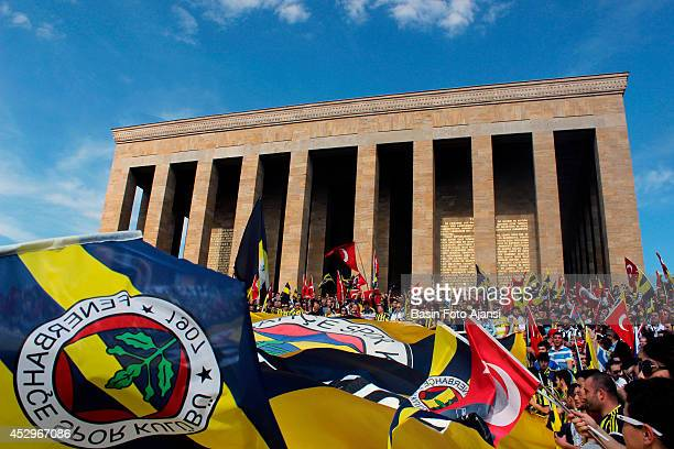 Turkey's football club Fenerbahçe fans and officials marched to the mausoleum of the Turkish Republics founder Mustafa Kemal Atatürk