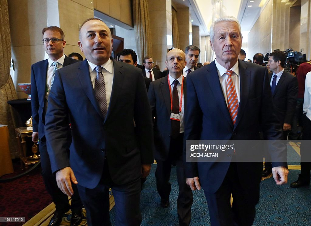 Turkey's Foreign Affairs Minister Mevlut Cavusoglu (L) and Secretary General of the Council of Europe, <a gi-track='captionPersonalityLinkClicked' href=/galleries/search?phrase=Thorbjorn+Jagland&family=editorial&specificpeople=862853 ng-click='$event.stopPropagation()'>Thorbjorn Jagland</a> attend the Seventh Annual Ambassadors Conference hosted by Turkish Foreign Ministry, on January 7, 2015 in Ankara.