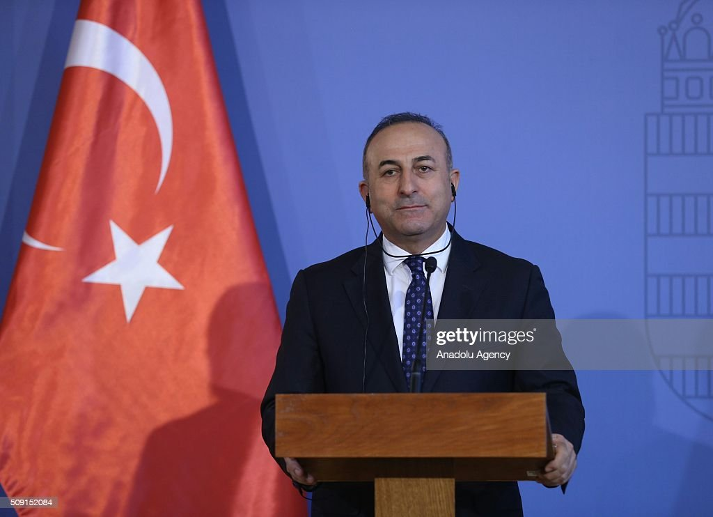 Turkey's Foreign Minister Mevlut Cavusoglu and Hungary's Foreign Minister Peter Szijjarto (not seen) hold joint press conference after their meeting in Budapest, Hungary on February 9, 2016.