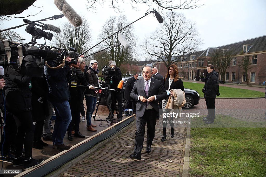 Turkey's Foreign Minister Mevlut Cavusoglu arrives to take part in Informal Gymnich meeting of EU foreign ministers in Amsterdam, Netherlands on February 6, 2016.