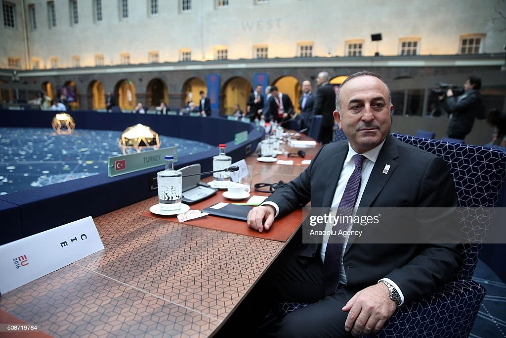Turkey's Foreign Minister Mevlut Cavusoglu attends Informal Gymnich meeting of EU foreign ministers in Amsterdam, Netherlands on February 6, 2016.