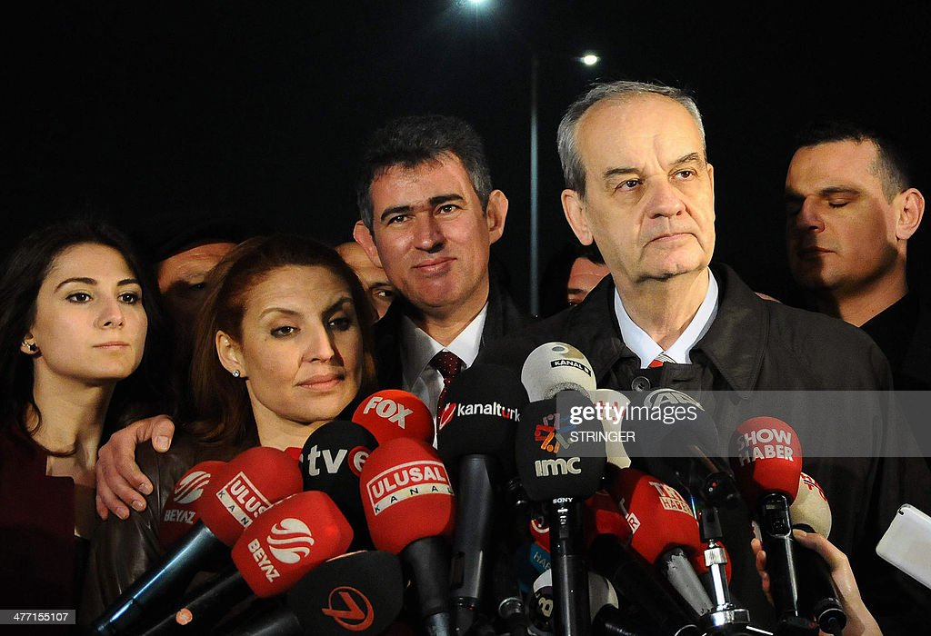 Turkey's former army chief Ilker Basbug (2nd R) speaks to the media after being released from prison on March 7, 2014 at Silivri, in Istanbul. Basbug who was jailed for life last year for plotting to overthrow the Islamic-rooted government walked free from the prison on March 7 after a Turkish court ordered his release. The ruling came a day after Turkey's top Constitutional Court ruled that Basbug's legal rights had been violated, saying that a lower court had failed to publish its detailed verdict on the case and send it to the appeals court.