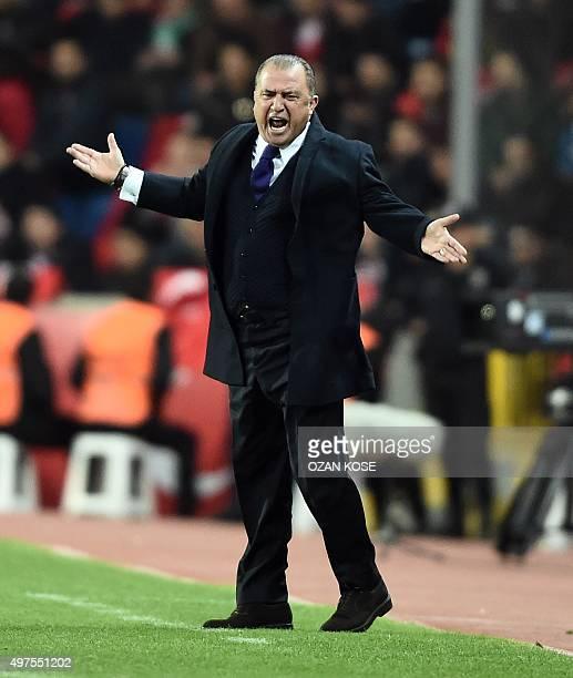 Turkey's head coach Fatih Terim gestures during the friendly football match between Turkey and Greece at Basaksehir stadium on November 17 2015 in...