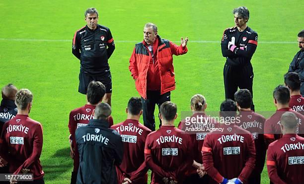 Turkey's head coach Fatih Terim leads the team during the team's training session at Kasimpasa Recep Tayyip Erdogan stadium on November 12 2013 in...