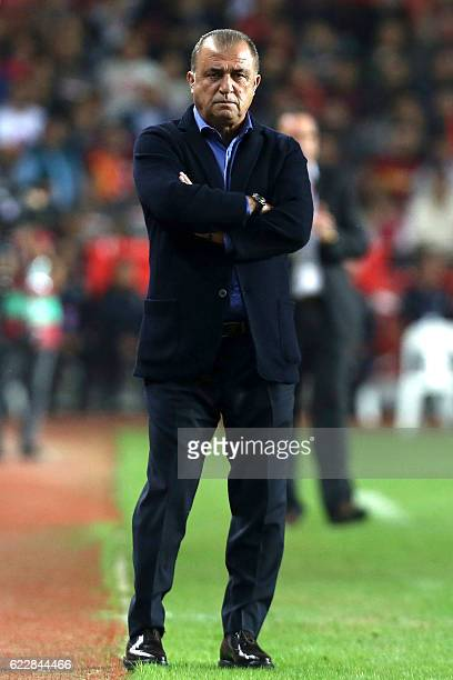 Turkey's head coach Fatih Terim looks on during the 2018 World Cup group I qualifying football match between Turkey and Kosovo in Antalya on November...