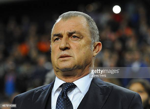 Turkey's head coach Fatih Terim looks on during the Euro 2016 qualifying round football match Netherlands and Turkey at the Arena Stadium on March 27...