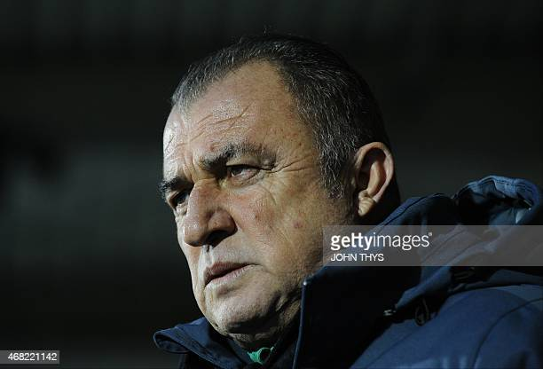 Turkey's head coach Fatih Terim looks on during the friendly football match between Luxembourg and Turkey at the Josy Barthel Stadium on March 31...