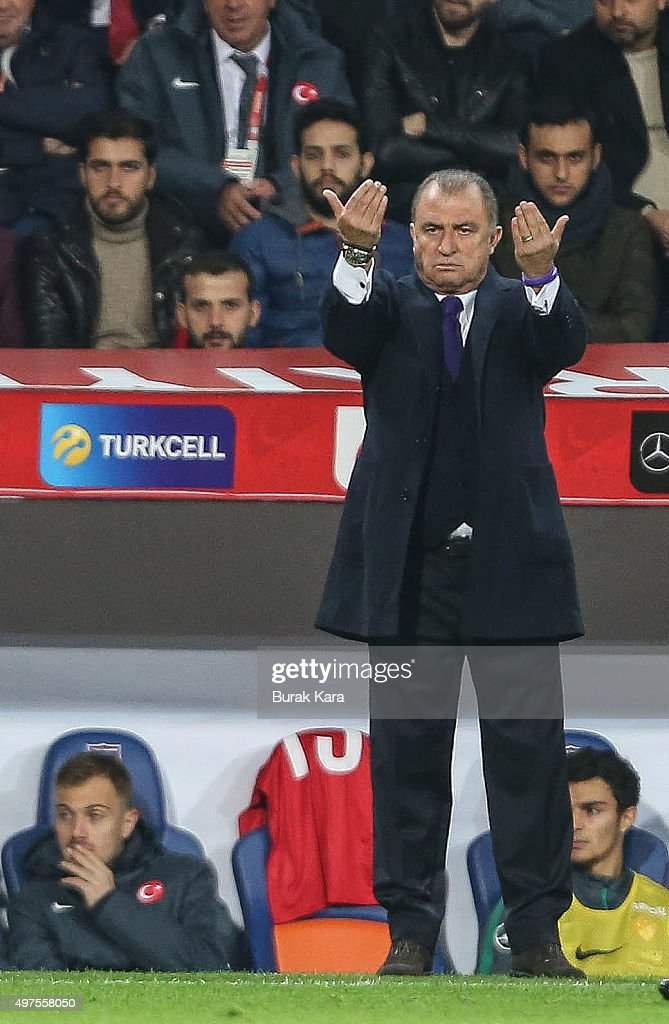 Turkey's head coach <a gi-track='captionPersonalityLinkClicked' href=/galleries/search?phrase=Fatih+Terim&family=editorial&specificpeople=602376 ng-click='$event.stopPropagation()'>Fatih Terim</a> reacts during an international friendly soccer match between Greece and Turkey November 17, 2015 in Istanbul, Turkey.