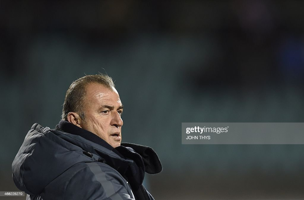 Turkey's head coach <a gi-track='captionPersonalityLinkClicked' href=/galleries/search?phrase=Fatih+Terim&family=editorial&specificpeople=602376 ng-click='$event.stopPropagation()'>Fatih Terim</a> reacts on March 31, 2015 during a friendly football match between Luxembourg and Turkey at the Josy Barthel stadium in Luxembourg.
