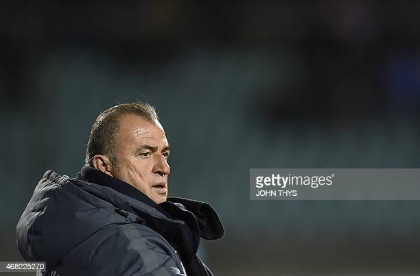 Turkey's head coach Fatih Terim reacts on March 31 2015 during a friendly football match between Luxembourg and Turkey at the Josy Barthel stadium in...