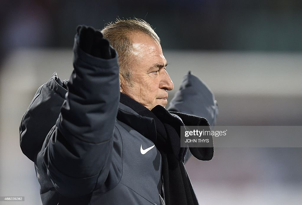 Turkey's head coach <a gi-track='captionPersonalityLinkClicked' href=/galleries/search?phrase=Fatih+Terim&family=editorial&specificpeople=602376 ng-click='$event.stopPropagation()'>Fatih Terim</a> reacts on March 31, 2015 during a friendly football match between Luxembourg and Turkey at the Josy Barthel stadium in Luxembourg. AFP PHOTO / JOHN THYS