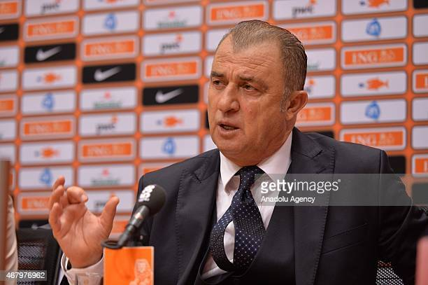 Turkey's head coach Fatih Terim speaks after the Euro 2016 qualifying round football match Netherlands and Turkey at the Arena Stadium on March 27...