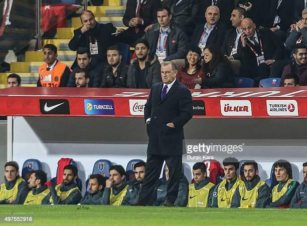 Turkey's head coach Fatih Terim watches the international friendly soccer match between Greece and Turkey November 17 2015 in Istanbul Turkey