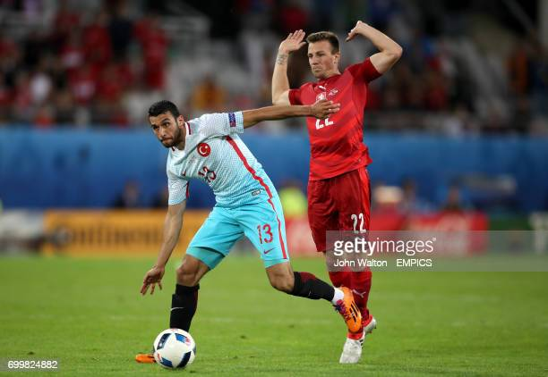 Turkey's Ismail Koybasi and Czech Republic's Vladimir Darida battle for the ball