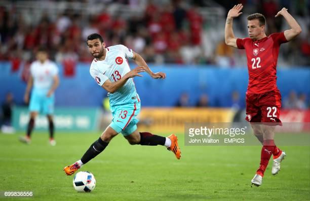 Turkey's Ismail Koybasi and Czech Republic's Vladimir Darida in action