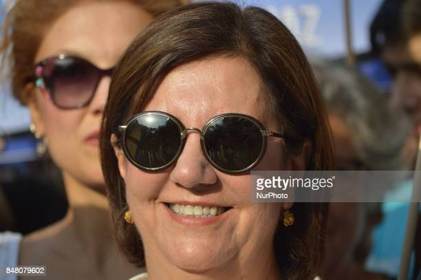 Turkey's main opposition Republican People's Party Deputy Gaye Usluer attends a protest against the Turkish government's new education policies in...