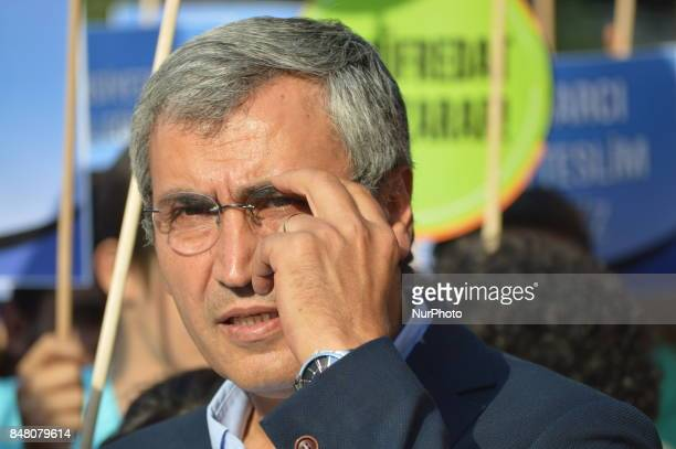 Turkey's main opposition Republican People's Party Deputy Necati Yilmaz attends a protest against the Turkish government's new education policies in...