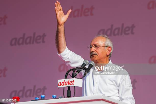 Turkey's main opposition Republican People's Party leader Kemal Kilicdaroglu gestures as he addresses thousands of supporters during a rally in the...