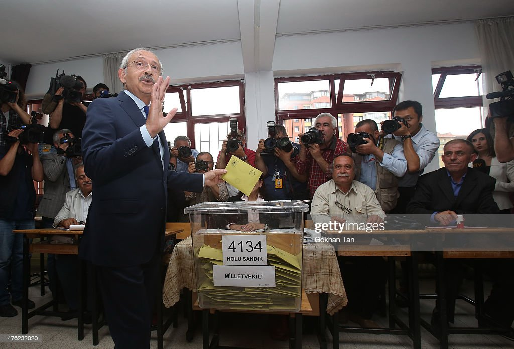 Turkeys main opposition Republican People's Party leader <a gi-track='captionPersonalityLinkClicked' href=/galleries/search?phrase=Kemal+Kilicdaroglu&family=editorial&specificpeople=7129513 ng-click='$event.stopPropagation()'>Kemal Kilicdaroglu</a> casts his vote at a polling station June 7, 2015 in Ankara, Turkey. Turkey is holding a general election on Sunday and approximately 56 million Turkish voters are eligible to cast their ballots to elect 550 members of national parliament.