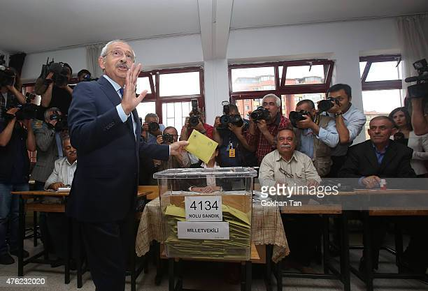 Turkeys main opposition Republican People's Party leader Kemal Kilicdaroglu casts his vote at a polling station June 7 2015 in Ankara Turkey Turkey...