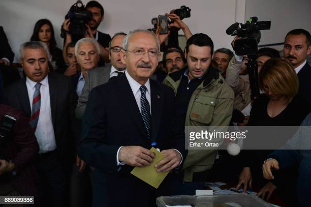 Turkey's main opposition Republican People's Party leader Kemal Kilicdaroglu casts his ballot at a polling station in Ankara April 16 2017 Turkey...