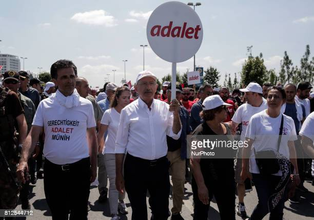 Turkey's main opposition Republican People's Party leader Kemal Kilicdaroglu during the 'Justice Rally' on July 9 2017 in Istanbul Turkey The Justice...