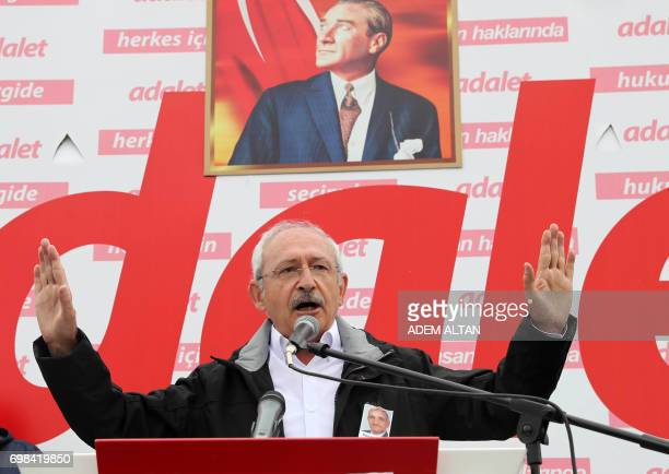 Turkey's main opposition Republican People's Party leader Kemal Kilicdaroglu gives his weekly parliamentary group speech on June 20 2017 in the town...