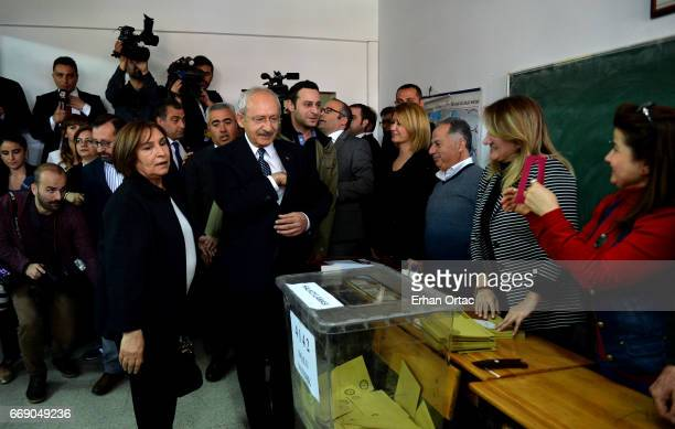 Turkey's main opposition Republican People's Party leader Kemal Kilicdaroglu leaves a polling station in Ankara April 16 2017 Turkey Millions of...