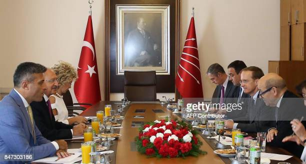 Turkey's main opposition Republican People's Party leader Kemal Kilicdaroglu meets with French Foreign Minister JeanYves Le Drian at the Grand...