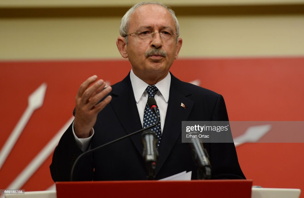 Turkey's main opposition Republican People's Party (CHP) leader Kemal Kilicdaroglu speaks during a news conference on April 16, 2017 in Ankara, Turkey. Erdogan declared victory in Sunday's historic referendum that will grant sweeping powers to the presidency, hailing the result as a 'historic decision. Results carried by the state-run Anadolu news agency showed the 'yes' vote had about 51.3 percent compared to 48.7 percent for the 'no' vote with nearly 99 percent of the vote counted. Turkish opposition parties say they will demand a recount of up to 40 per cent of the ballot amid claims of illegal voting.