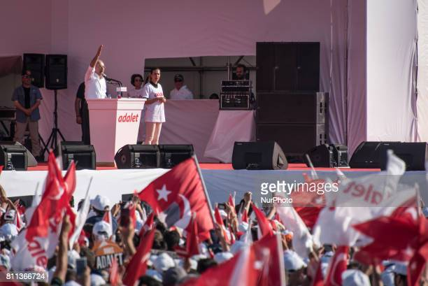 Turkey's main opposition Republican People's Party leader Kemal Kilicdaroglu speaks on stage to thousands of supporters during the 'Justice Rally' on...