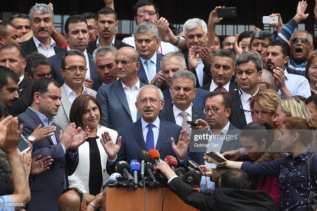 Turkeys main opposition Republican People's Party leader <a gi-track='captionPersonalityLinkClicked' href=/galleries/search?phrase=Kemal+Kilicdaroglu&family=editorial&specificpeople=7129513 ng-click='$event.stopPropagation()'>Kemal Kilicdaroglu</a> adresses to supporters after casting his vote at a polling station June 7, 2015 in Ankara, Turkey. Turkey is holding a general election on Sunday and approximately 56 million Turkish voters are eligible to cast their ballots to elect 550 members of national parliament.