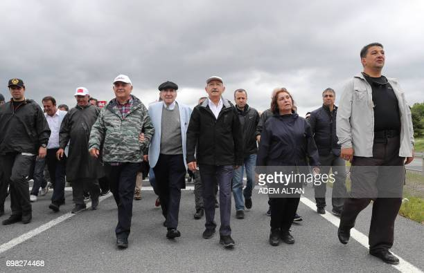 Turkey's main opposition Republican People's Party leader Kemal Kilicdaroglu walks during a 'walk for justice' from Ankara to Istanbul against the...